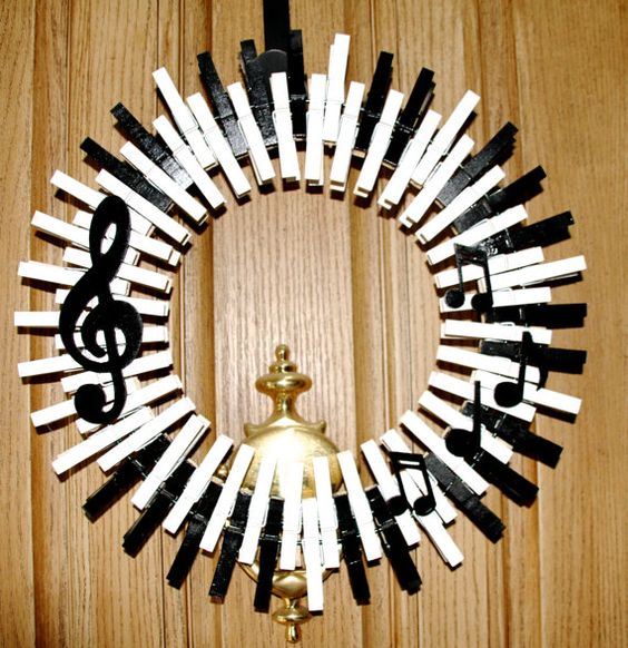 Music Themed Decorating Ideas Part - 40: Another Creative Wreath Fashioned From Music Sheets. Dye Your Music Sheets  In Your Favorite Colors, Cut Them Into Interesting Shapes And Then Glue  Them On A ...